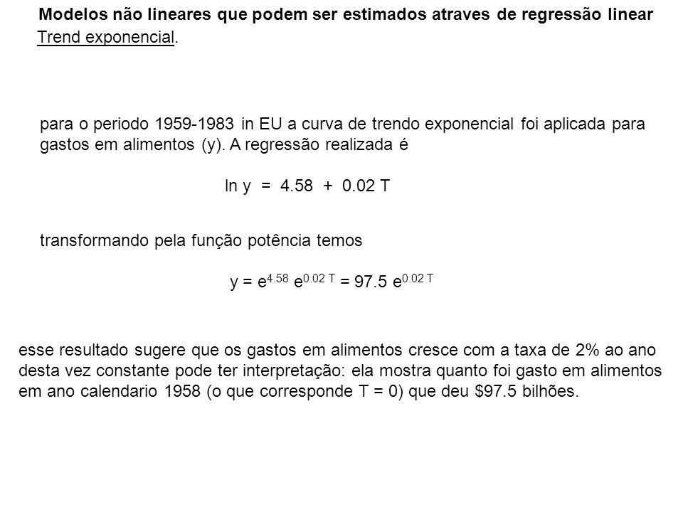 Modelos não lineares que podem ser estimados atraves de regressão linear Trend exponencial. para o periodo 1959-1983 in EU a curva de trendo exponenci