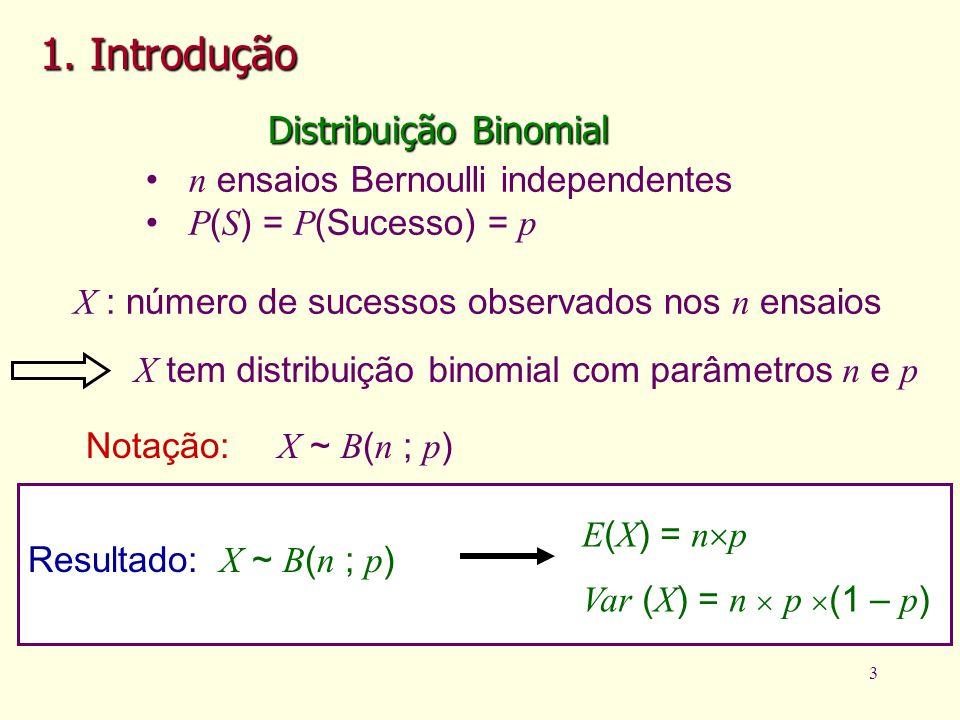 3 1. Introdução Distribuição Binomial n ensaios Bernoulli independentes P ( S ) = P (Sucesso) = p X : número de sucessos observados nos n ensaios X te