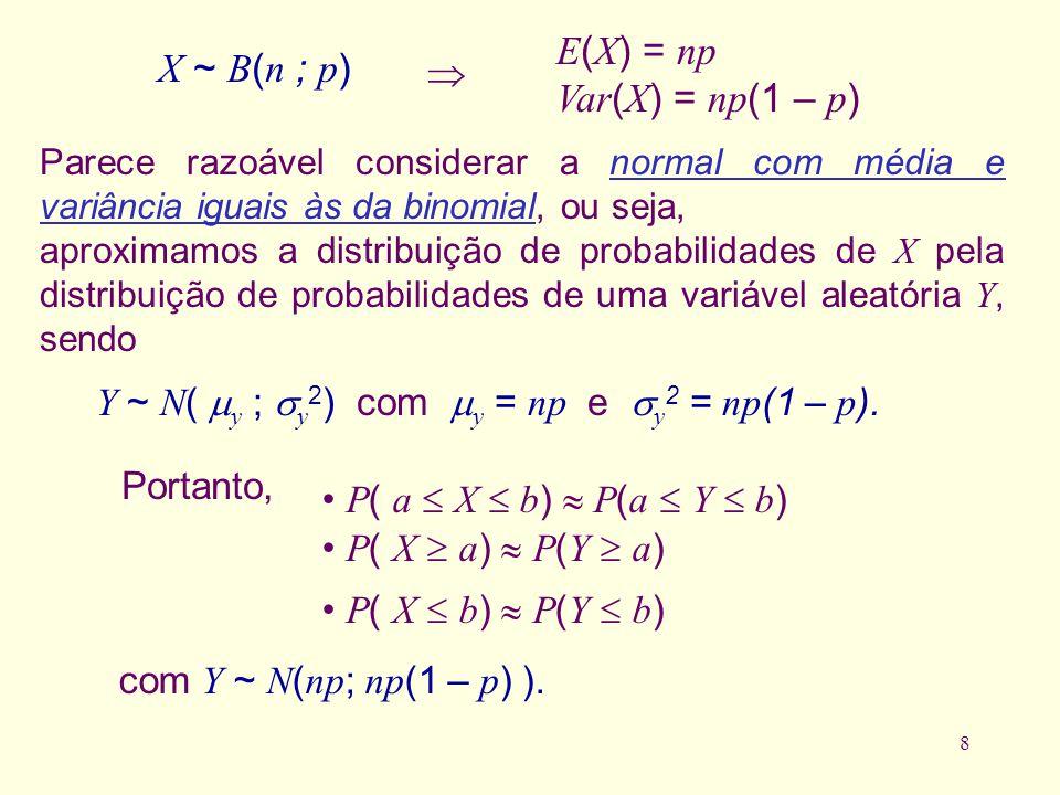 8 com Y ~ N ( np ; np (1 – p ) ). Portanto, P ( a X b ) P ( a Y b ) P ( X a ) P ( Y a ) P ( X b ) P ( Y b ) X ~ B ( n ; p ) E ( X ) = np Var ( X ) = n