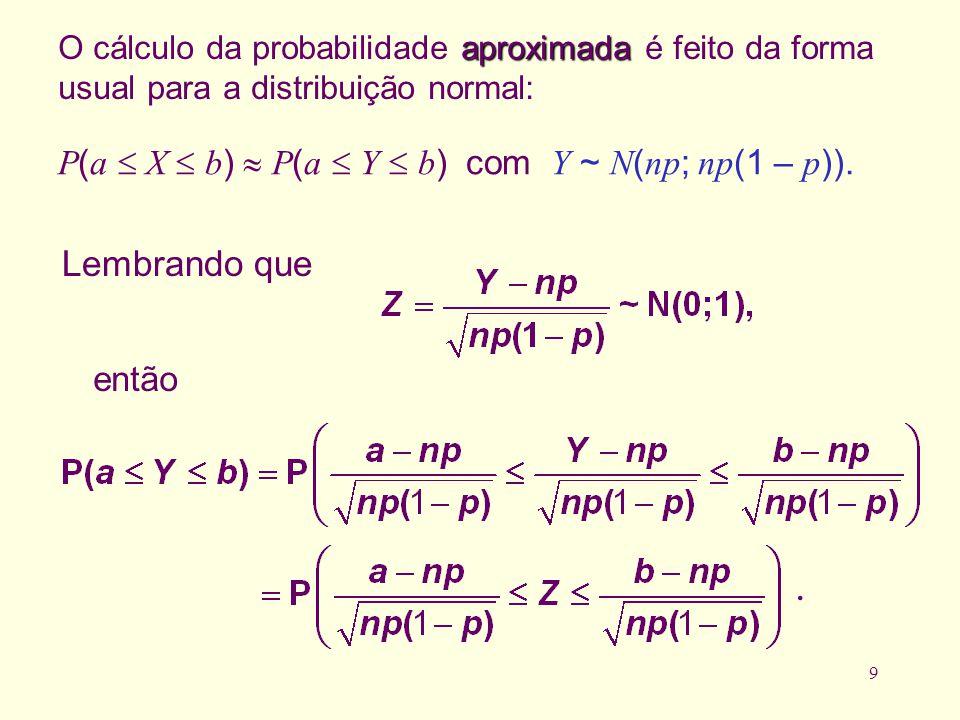 9 aproximada O cálculo da probabilidade aproximada é feito da forma usual para a distribuição normal: P ( a X b ) P ( a Y b ) com Y ~ N ( np ; np (1 –