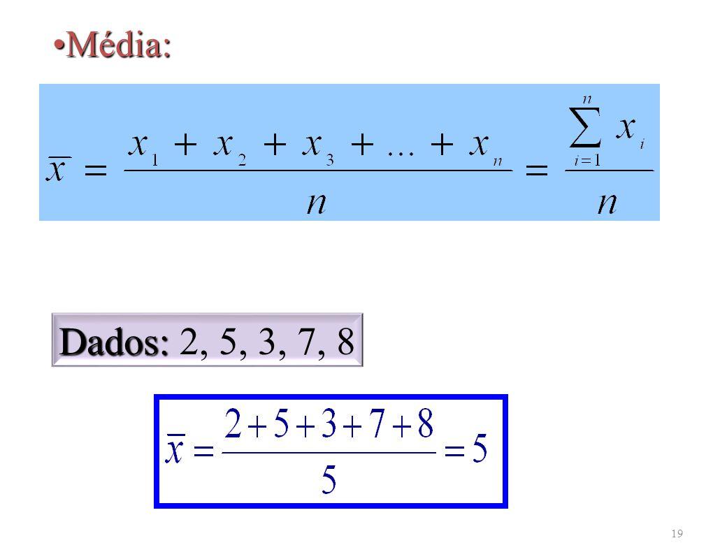 19 Média:Média: Dados: Dados: 2, 5, 3, 7, 8