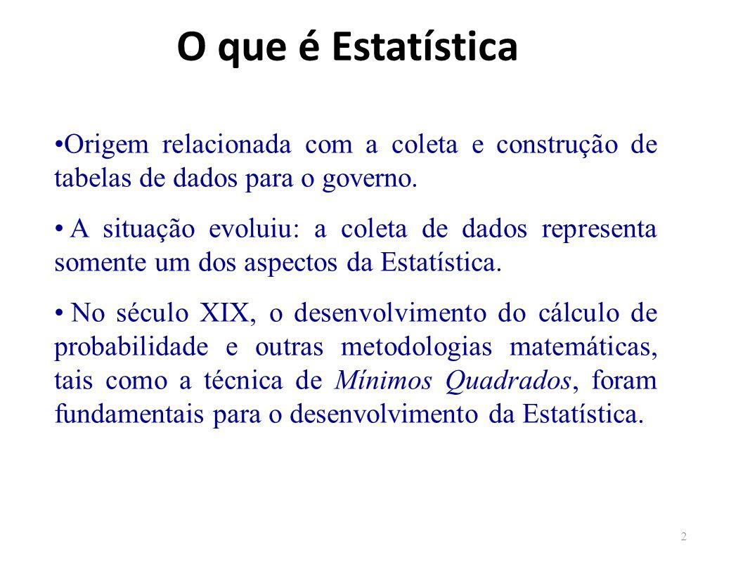 O que é Estatística 2 Origem relacionada com a coleta e construção de tabelas de dados para o governo.