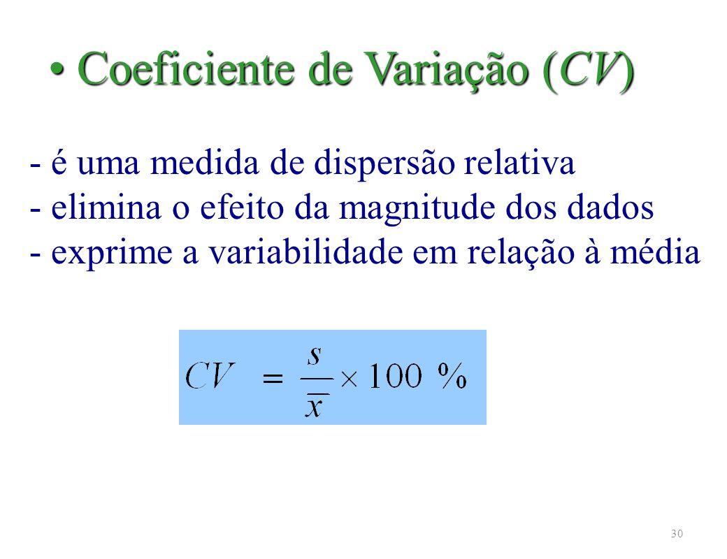 30 - é uma medida de dispersão relativa - elimina o efeito da magnitude dos dados - exprime a variabilidade em relação à média Coeficiente de Variação (CV) Coeficiente de Variação (CV)