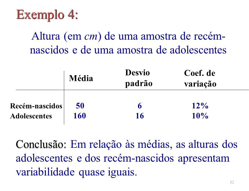 32 Conclusão: Conclusão: Em relação às médias, as alturas dos adolescentes e dos recém-nascidos apresentam variabilidade quase iguais.