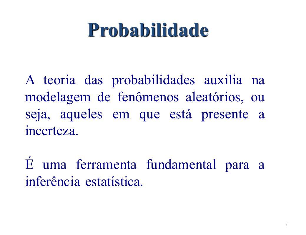 7 Probabilidade A teoria das probabilidades auxilia na modelagem de fenômenos aleatórios, ou seja, aqueles em que está presente a incerteza.