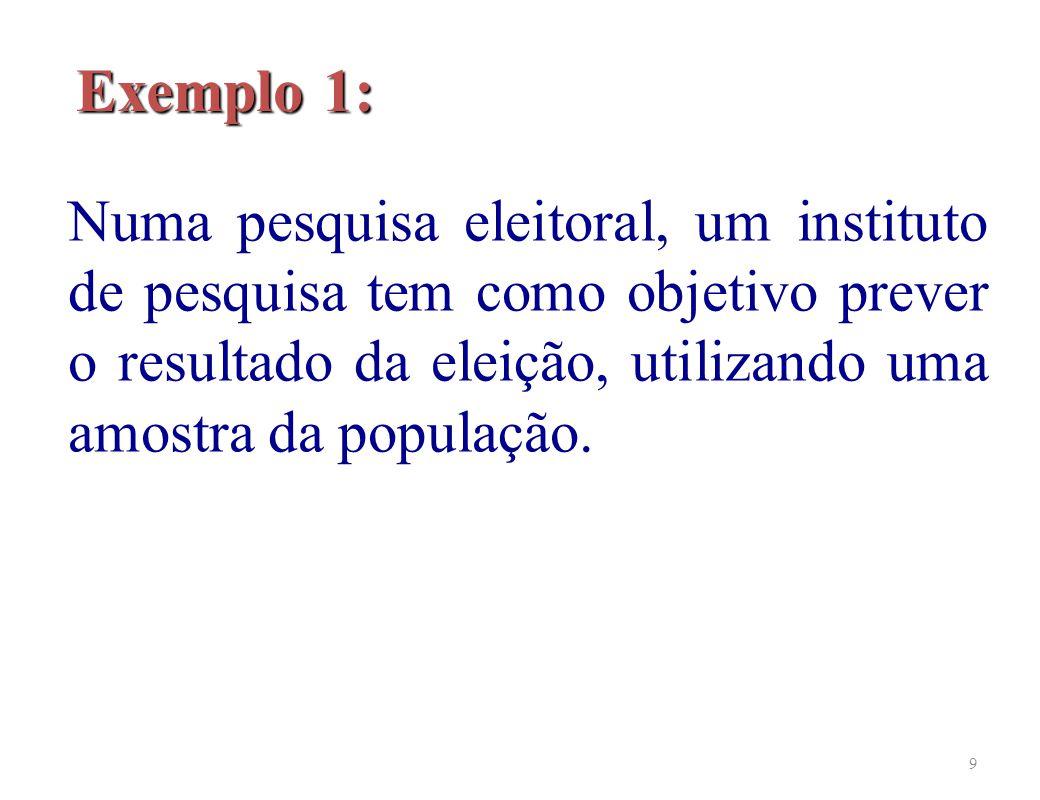 9 Exemplo 1: Numa pesquisa eleitoral, um instituto de pesquisa tem como objetivo prever o resultado da eleição, utilizando uma amostra da população.