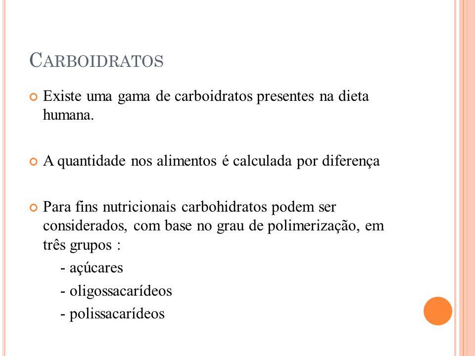 C ARBOIDRATOS Existe uma gama de carboidratos presentes na dieta humana.