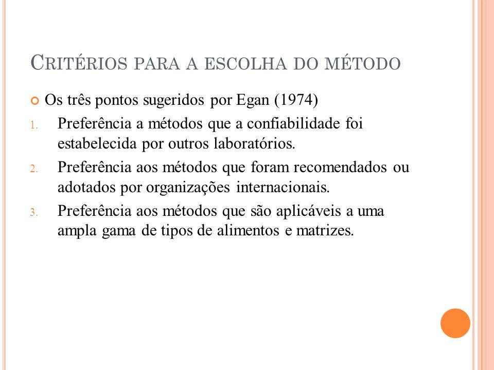 C RITÉRIOS PARA A ESCOLHA DO MÉTODO Os três pontos sugeridos por Egan (1974) 1.