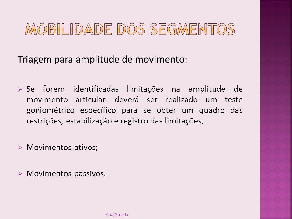 Triagem para amplitude de movimento: Se forem identificadas limitações na amplitude de movimento articular, deverá ser realizado um teste goniométrico