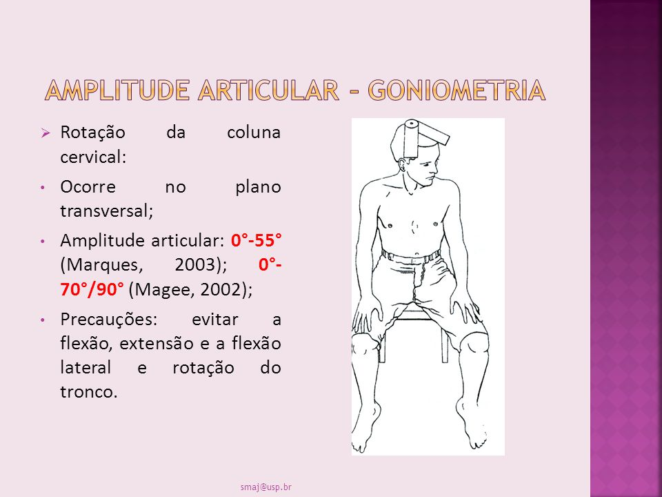 Rotação da coluna cervical: Ocorre no plano transversal; Amplitude articular: 0°-55° (Marques, 2003); 0°- 70°/90° (Magee, 2002); Precauções: evitar a