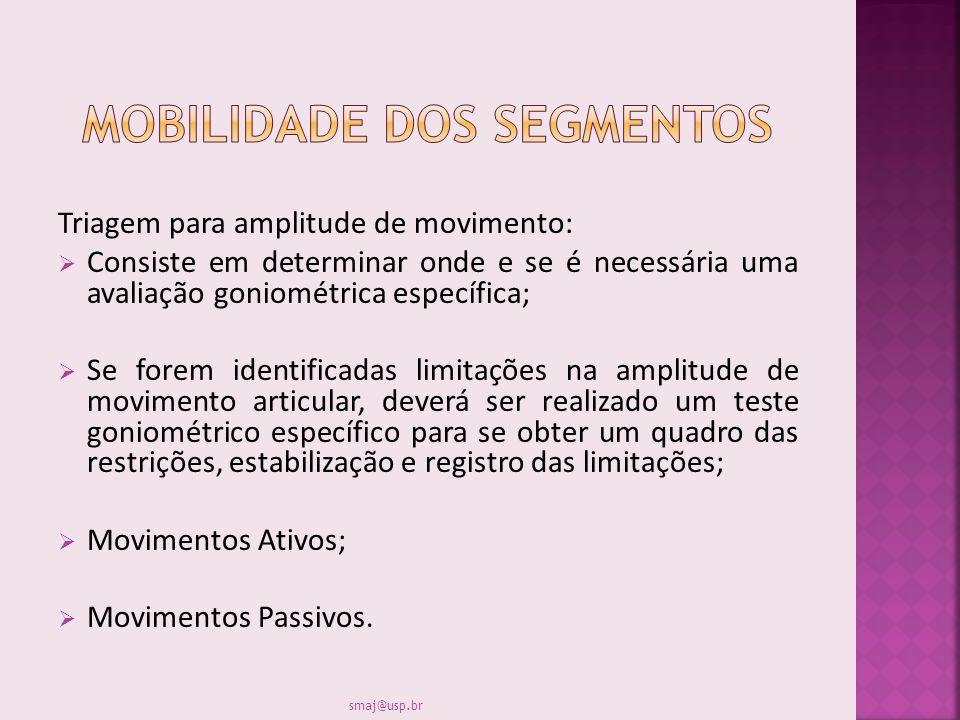 Triagem para amplitude de movimento: Consiste em determinar onde e se é necessária uma avaliação goniométrica específica; Se forem identificadas limit