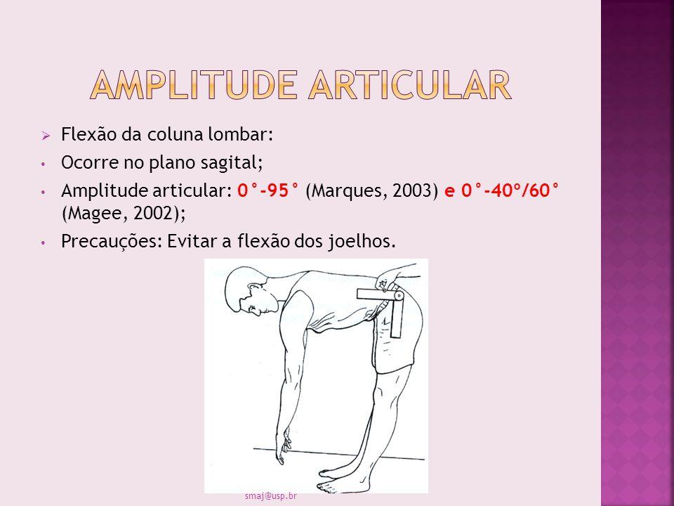 Flexão da coluna lombar: Ocorre no plano sagital; Amplitude articular: 0°-95° (Marques, 2003) e 0°-40º/60° (Magee, 2002); Precauções: Evitar a flexão