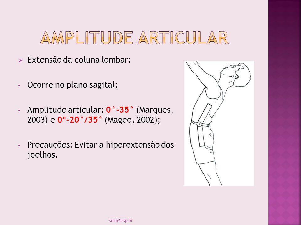 Extensão da coluna lombar: Ocorre no plano sagital; Amplitude articular: 0°-35° (Marques, 2003) e 0º-20°/35° (Magee, 2002); Precauções: Evitar a hiper