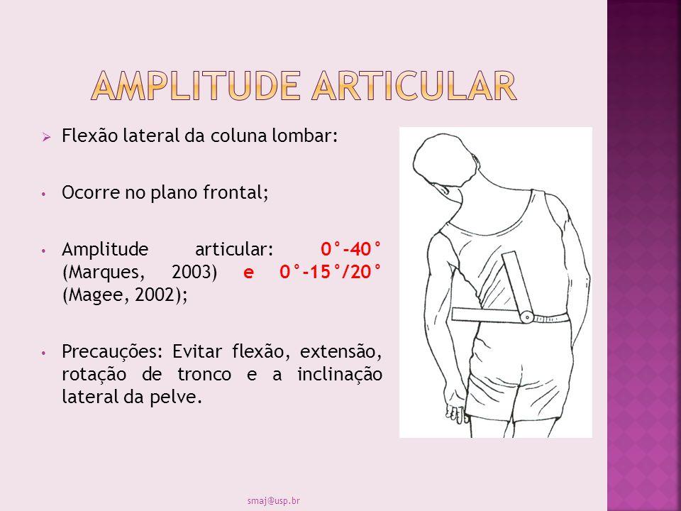 Flexão lateral da coluna lombar: Ocorre no plano frontal; Amplitude articular: 0°-40° (Marques, 2003) e 0°-15°/20° (Magee, 2002); Precauções: Evitar f