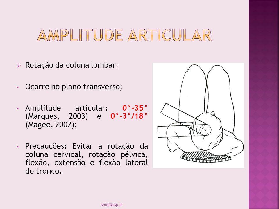 Rotação da coluna lombar: Ocorre no plano transverso; Amplitude articular: 0°-35° (Marques, 2003) e 0°-3°/18° (Magee, 2002); Precauções: Evitar a rota