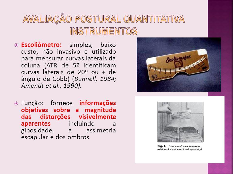 Escoliômetro: simples, baixo custo, não invasivo e utilizado para mensurar curvas laterais da coluna (ATR de 5º identificam curvas laterais de 20º ou