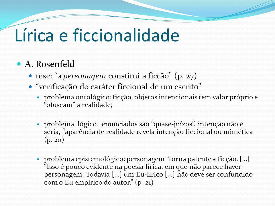 Lírica e ficcionalidade A. Rosenfeld tese: a personagem constitui a ficção (p. 27) verificação do caráter ficcional de um escrito problema ontológico: