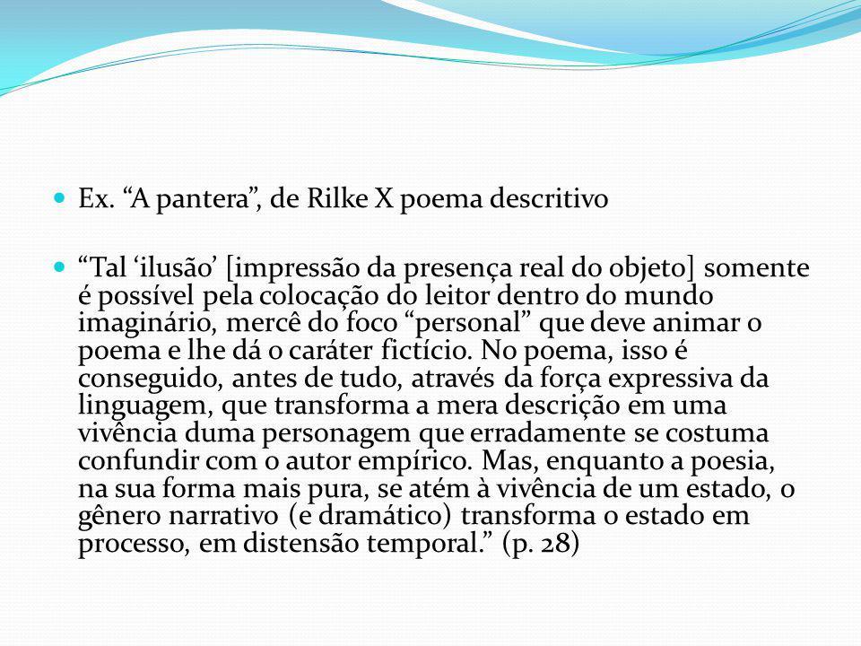 Ex. A pantera, de Rilke X poema descritivo Tal ilusão [impressão da presença real do objeto] somente é possível pela colocação do leitor dentro do mun