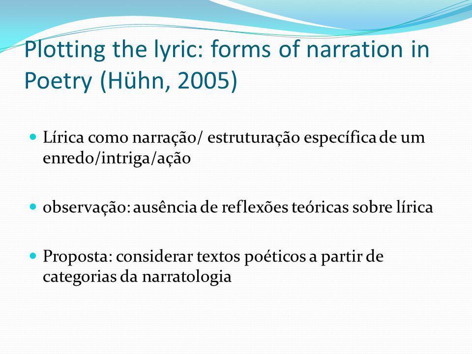 Plotting the lyric: forms of narration in Poetry (Hühn, 2005) Lírica como narração/ estruturação específica de um enredo/intriga/ação observação: ausê