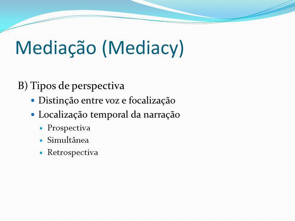 Mediação (Mediacy) B) Tipos de perspectiva Distinção entre voz e focalização Localização temporal da narração Prospectiva Simultânea Retrospectiva