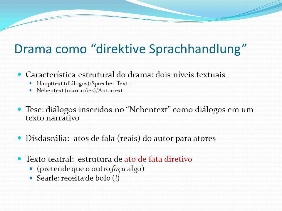 Drama como direktive Sprachhandlung Característica estrutural do drama: dois níveis textuais Haupttext (diálogos)/Sprecher-Text + Nebentext (marcações
