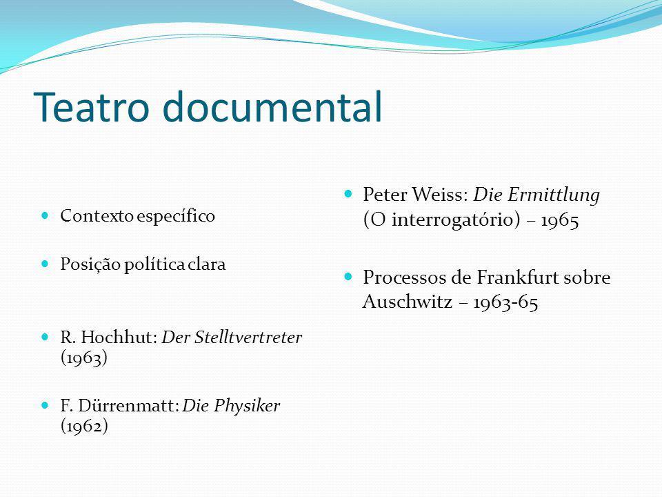 Teatro documental Contexto específico Posição política clara R. Hochhut: Der Stelltvertreter (1963) F. Dürrenmatt: Die Physiker (1962) Peter Weiss: Di