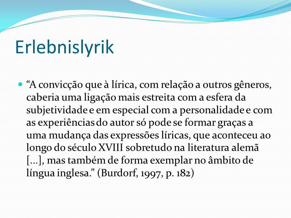 Erlebnislyrik A convicção que à lírica, com relação a outros gêneros, caberia uma ligação mais estreita com a esfera da subjetividade e em especial co