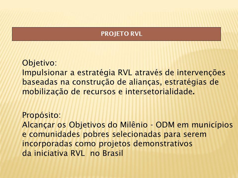 PROJETO RVL Objetivo: Impulsionar a estratégia RVL através de intervenções baseadas na construção de alianças, estratégias de mobilização de recursos