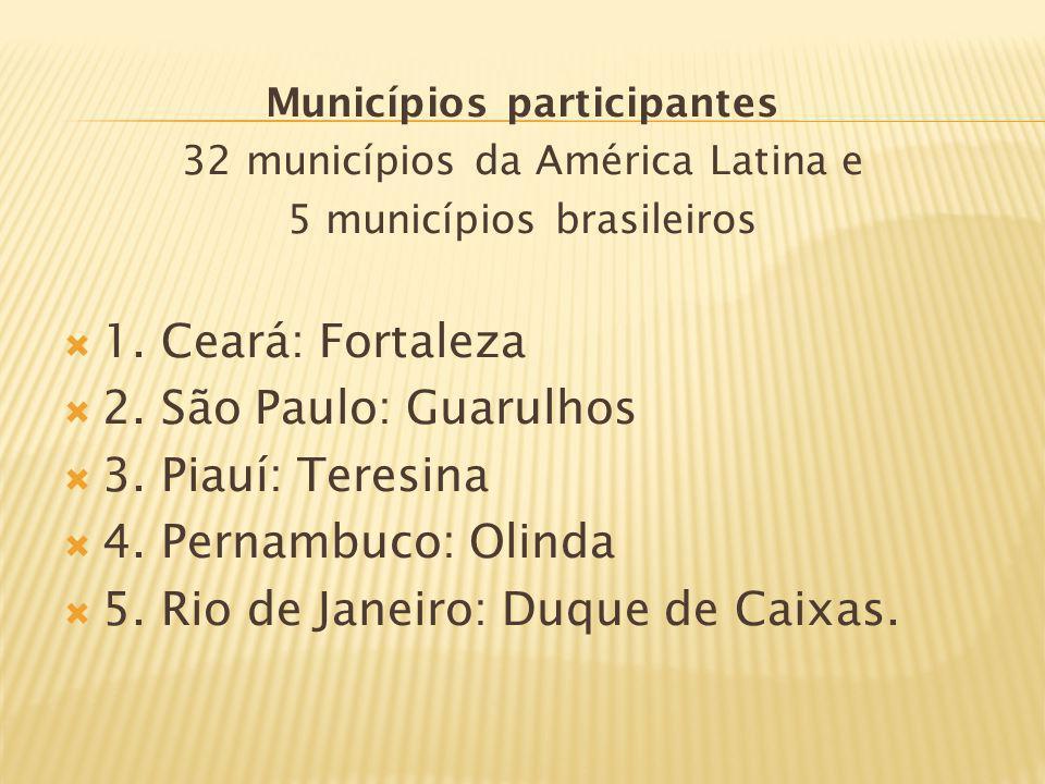 Municípios participantes 32 municípios da América Latina e 5 municípios brasileiros 1. Ceará: Fortaleza 2. São Paulo: Guarulhos 3. Piauí: Teresina 4.