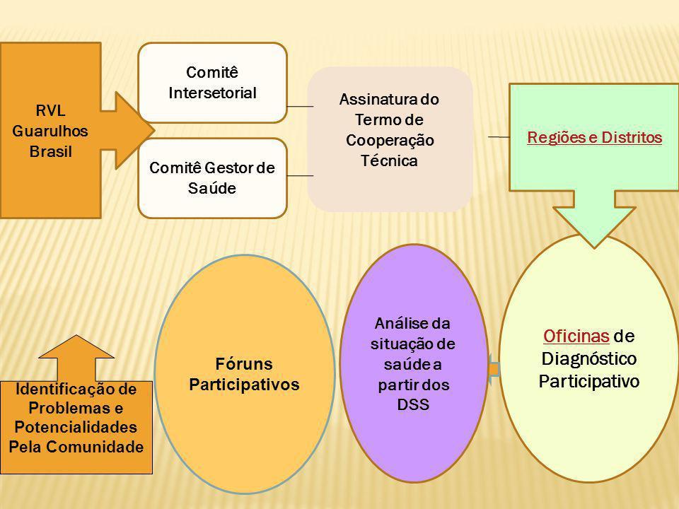 OficinasOficinas de Diagnóstico Participativo Assinatura do Termo de Cooperação Técnica Comitê Gestor de Saúde RVL Guarulhos Brasil Comitê Intersetori