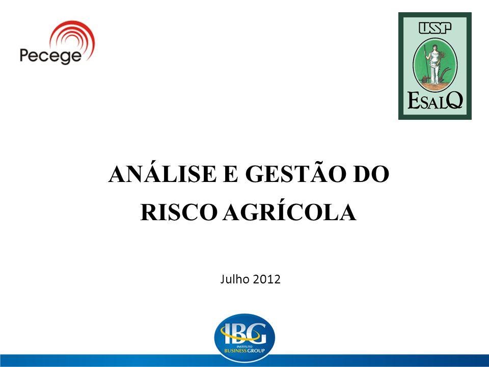ANÁLISE E GESTÃO DO RISCO AGRÍCOLA Julho 2012