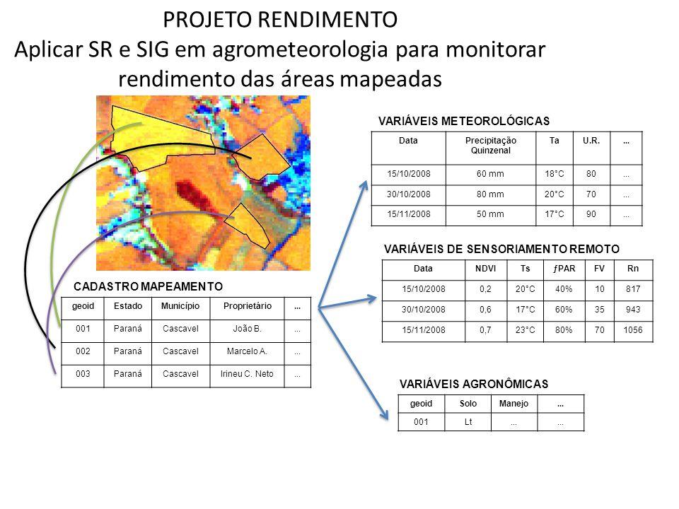 PROJETO RENDIMENTO Aplicar SR e SIG em agrometeorologia para monitorar rendimento das áreas mapeadas VARIÁVEIS METEOROLÓGICAS DataPrecipitação Quinzen