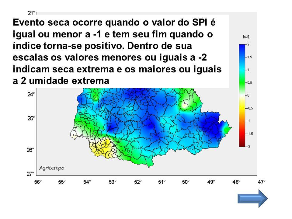 Evento seca ocorre quando o valor do SPI é igual ou menor a -1 e tem seu fim quando o índice torna-se positivo. Dentro de sua escalas os valores menor