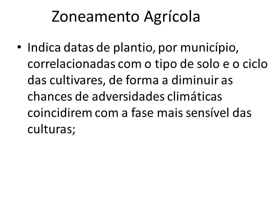 Zoneamento Agrícola Indica datas de plantio, por município, correlacionadas com o tipo de solo e o ciclo das cultivares, de forma a diminuir as chance