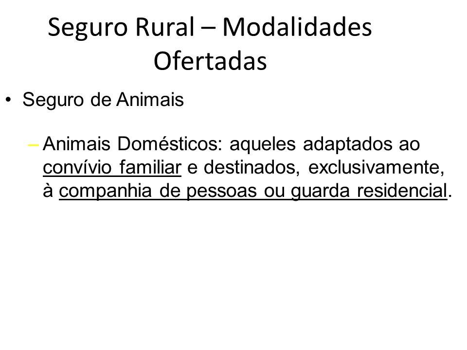 Seguro Rural – Modalidades Ofertadas Seguro de Animais –Animais Domésticos: aqueles adaptados ao convívio familiar e destinados, exclusivamente, à com