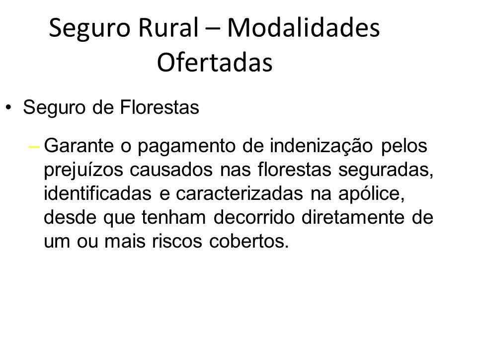 Seguro Rural – Modalidades Ofertadas Seguro de Florestas –Garante o pagamento de indenização pelos prejuízos causados nas florestas seguradas, identif