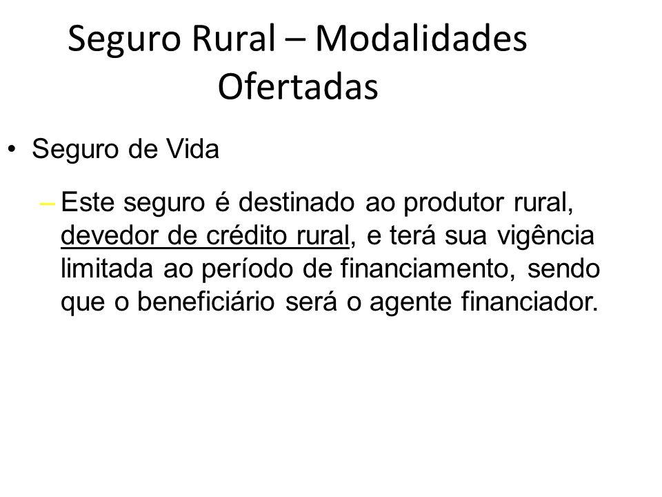 Seguro Rural – Modalidades Ofertadas Seguro de Vida –Este seguro é destinado ao produtor rural, devedor de crédito rural, e terá sua vigência limitada