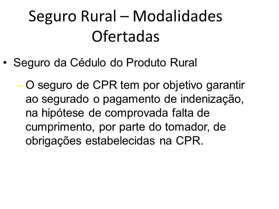 Seguro Rural – Modalidades Ofertadas Seguro da Cédulo do Produto Rural –O seguro de CPR tem por objetivo garantir ao segurado o pagamento de indenizaç