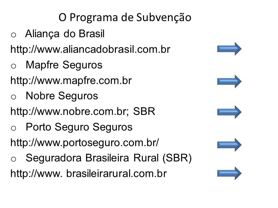 o Aliança do Brasil http://www.aliancadobrasil.com.br o Mapfre Seguros http://www.mapfre.com.br o Nobre Seguros http://www.nobre.com.br; SBR o Porto S