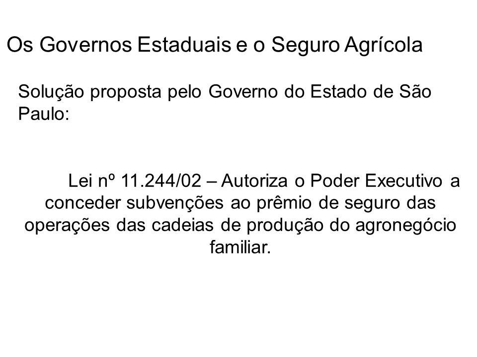 Os Governos Estaduais e o Seguro Agrícola Solução proposta pelo Governo do Estado de São Paulo: Lei nº 11.244/02 – Autoriza o Poder Executivo a conced