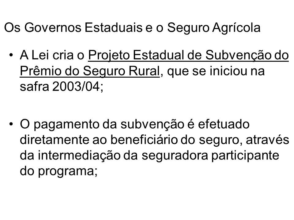 Os Governos Estaduais e o Seguro Agrícola A Lei cria o Projeto Estadual de Subvenção do Prêmio do Seguro Rural, que se iniciou na safra 2003/04; O pag