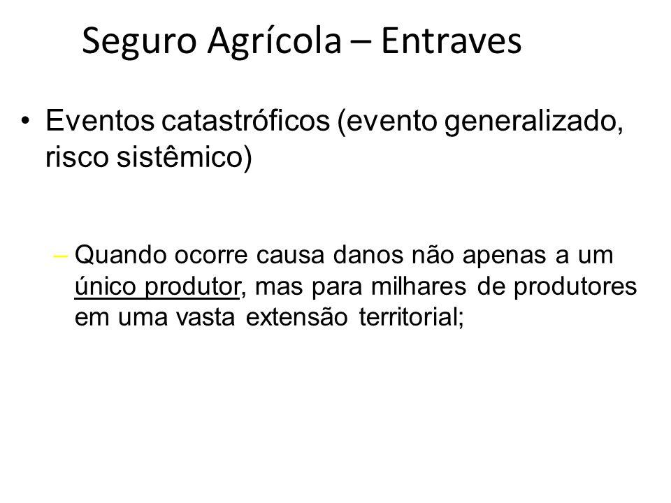 Eventos catastróficos (evento generalizado, risco sistêmico) –Quando ocorre causa danos não apenas a um único produtor, mas para milhares de produtore