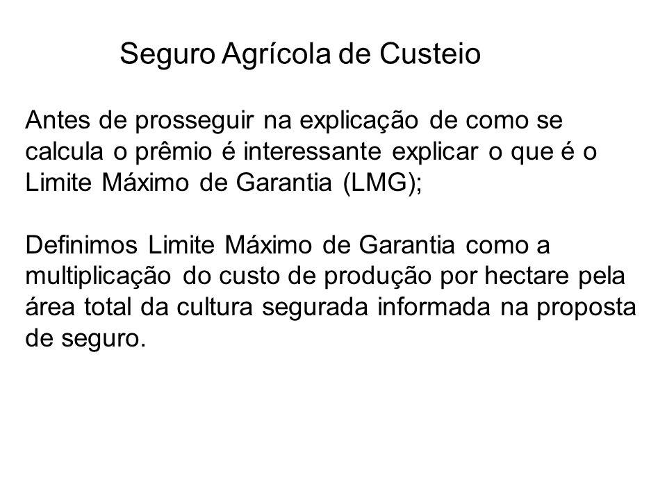 Seguro Agrícola de Custeio Antes de prosseguir na explicação de como se calcula o prêmio é interessante explicar o que é o Limite Máximo de Garantia (