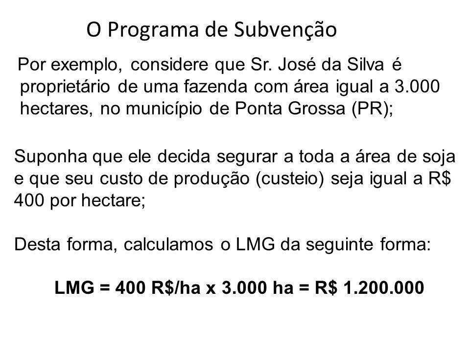 Por exemplo, considere que Sr. José da Silva é proprietário de uma fazenda com área igual a 3.000 hectares, no município de Ponta Grossa (PR); Suponha