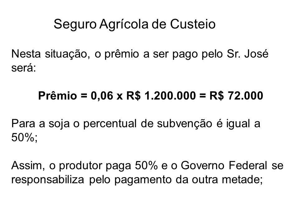 Seguro Agrícola de Custeio Nesta situação, o prêmio a ser pago pelo Sr. José será: Prêmio = 0,06 x R$ 1.200.000 = R$ 72.000 Para a soja o percentual d