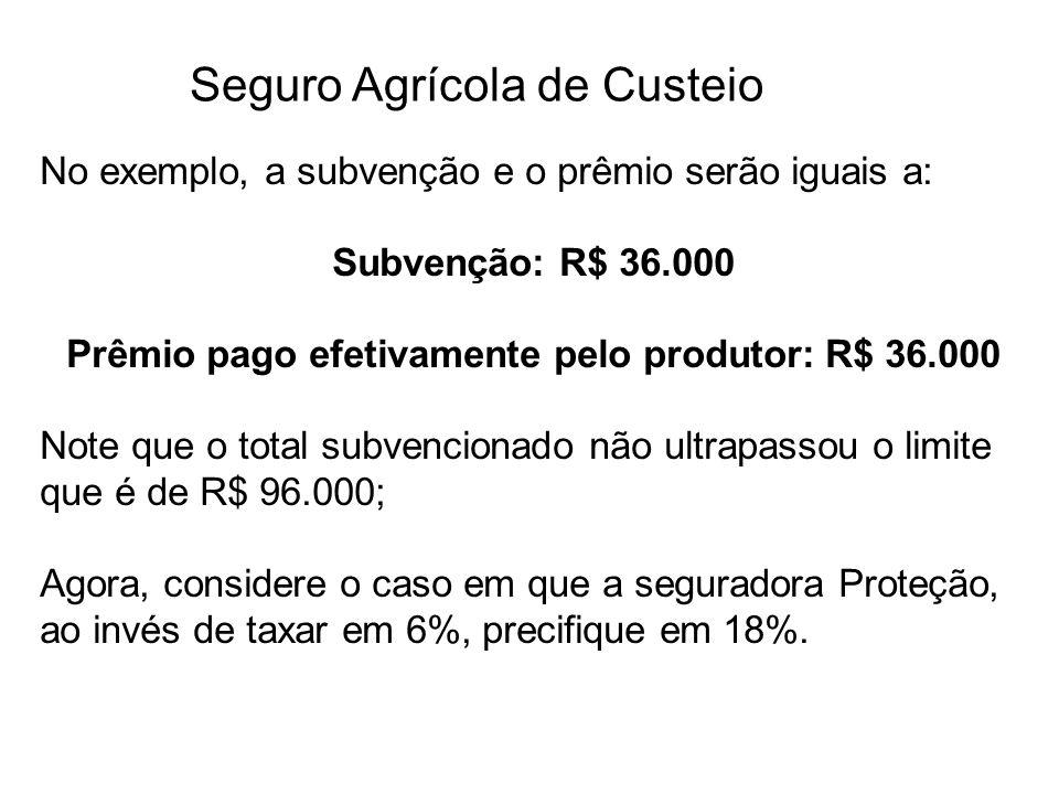 Seguro Agrícola de Custeio No exemplo, a subvenção e o prêmio serão iguais a: Subvenção: R$ 36.000 Prêmio pago efetivamente pelo produtor: R$ 36.000 N