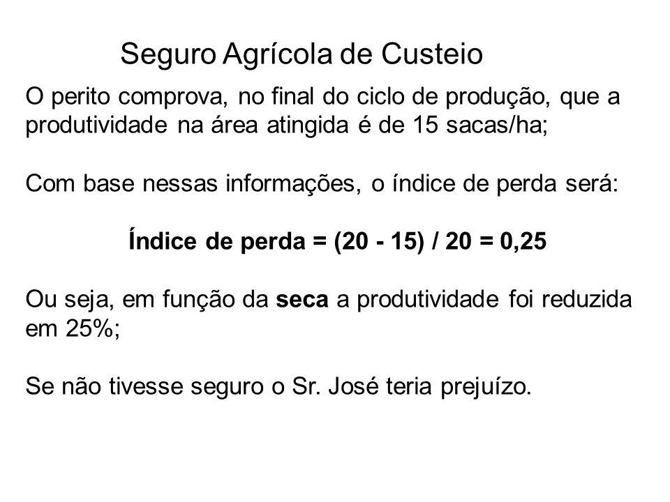 Seguro Agrícola de Custeio O perito comprova, no final do ciclo de produção, que a produtividade na área atingida é de 15 sacas/ha; Com base nessas in