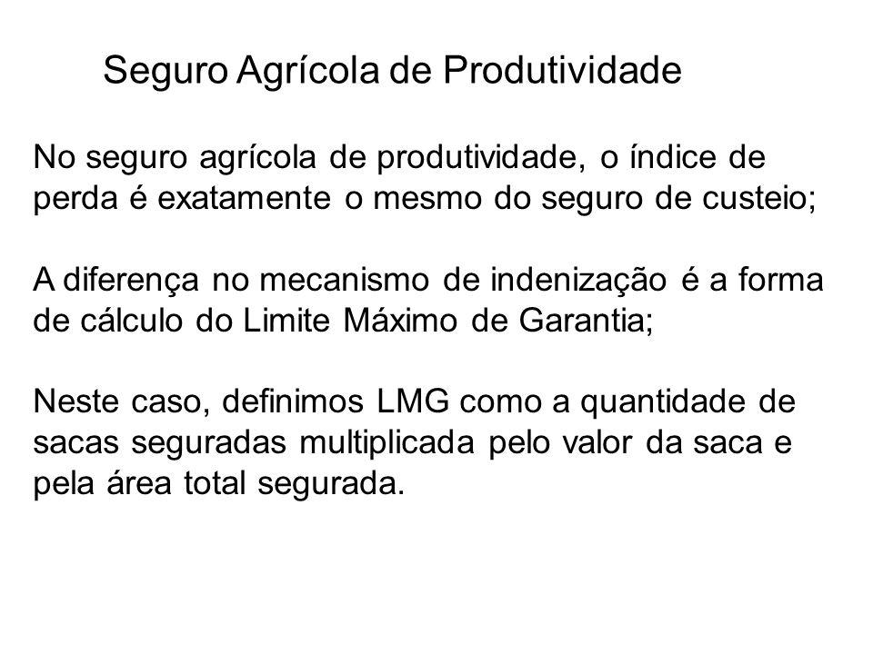 Seguro Agrícola de Produtividade No seguro agrícola de produtividade, o índice de perda é exatamente o mesmo do seguro de custeio; A diferença no meca
