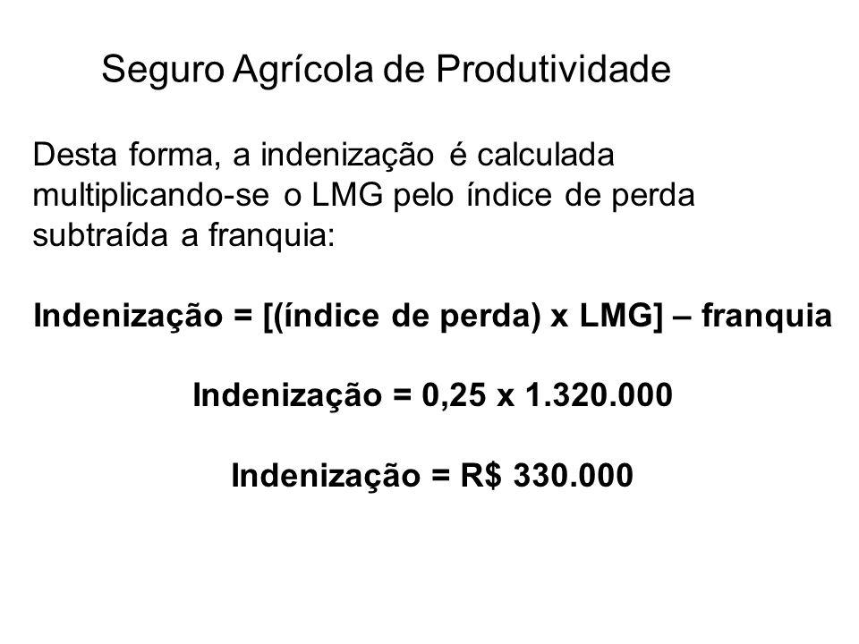 Seguro Agrícola de Produtividade Desta forma, a indenização é calculada multiplicando-se o LMG pelo índice de perda subtraída a franquia: Indenização
