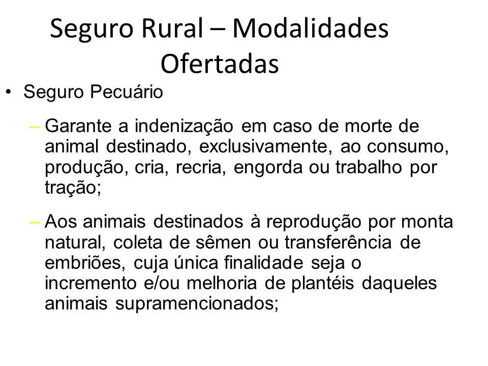 Seguro Rural – Modalidades Ofertadas Seguro Pecuário –Garante a indenização em caso de morte de animal destinado, exclusivamente, ao consumo, produção